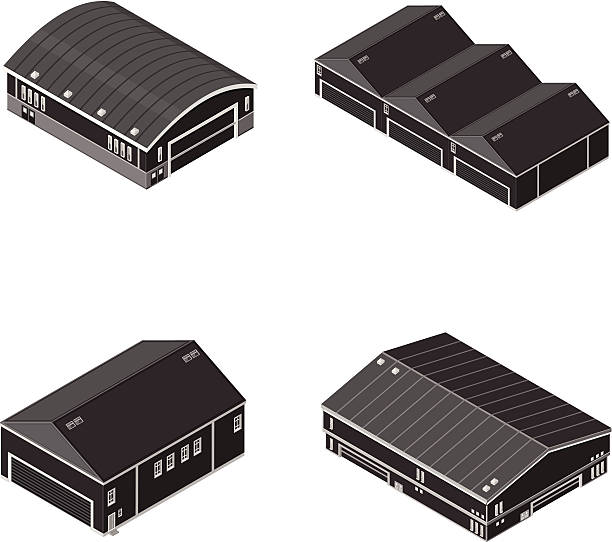 isometric warehouse and manufacturing factory - clip art of a black and white barn stock illustrations, clip art, cartoons, & icons