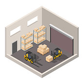 Isometric warehouse interior of storage vector set with shipping delivery, roof and lamps flat illustration Logistic concept export truck infographics