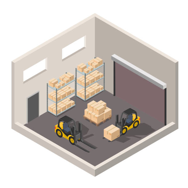 Isometric warehouse interior of storage vector set with shipping delivery, roof and lamps flat illustration Logistic concept export truck infographics Isometric warehouse interior of storage vector set with shipping delivery, roof and lamps flat illustration Logistic concept export truck infographics rotelle stock illustrations