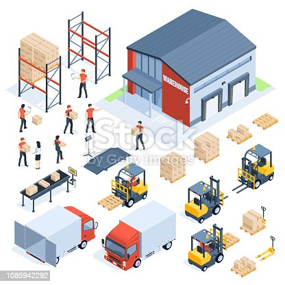 Isometric warehouse logistic. Cargo transport industry, wholesale distribution logistics and distributed pallets. People with package, world truck packaging delivery company 3d isometric vector set