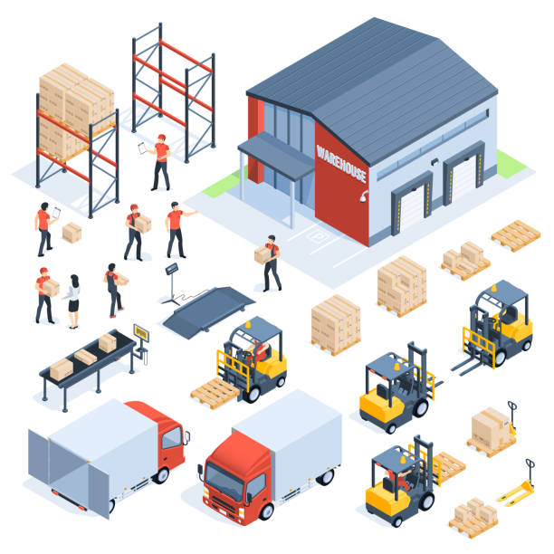 illustrazioni stock, clip art, cartoni animati e icone di tendenza di isometric warehouse logistic. cargo transport industry, wholesale distribution logistics and distributed pallets 3d isometric vector set - logistica