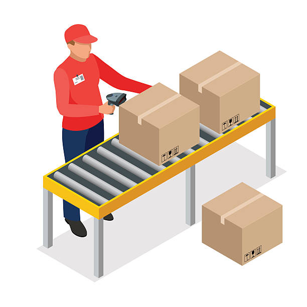 stockillustraties, clipart, cartoons en iconen met isometric warehouse manager or worker with bar code scanner checking - warehouse worker