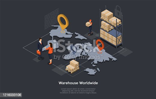 istock Isometric Warehouse, Maritime And Overland Transport Logistics. Worldwide Delivery And Global Logistics With Staff, Goods, World Map And Tags. Manager And Customer Shake Hands. Vector Illustration 1216033106
