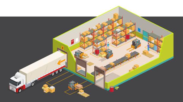 ilustrações de stock, clip art, desenhos animados e ícones de isometric warehouse - warehouse