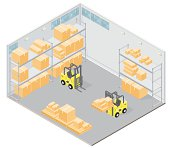 An illustration of an isometric warehouse with storage boxes, crates and busy forklift trucks.