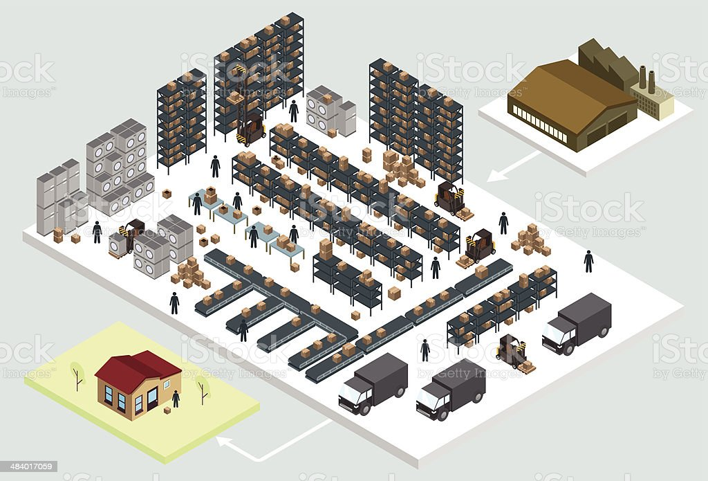 Isometric warehouse vector art illustration