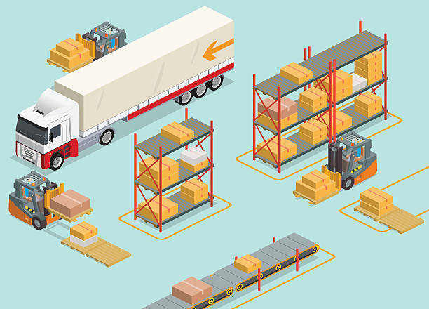 isometric warehouse vector art illustration