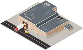 A vector illustration of an isometric warehouse receiving and managing a goods from a delivery truck.
