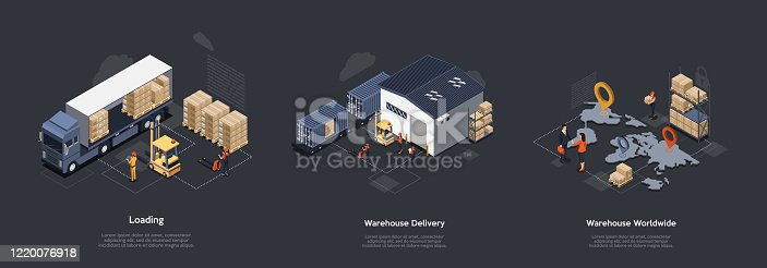 Isometric Warehouse Work Process Concept. On Time Worldwide Delivery. Delivery Equipment And Professional Work Staff Control Process Of Sorting, Loading and Unloading Cargo. Vector Illustrations Set.