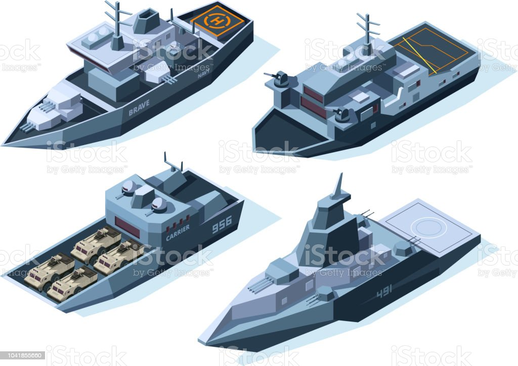 Isometric warships. Vector military boats isolated on white vector art illustration