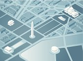 An overhead 3D illustration of Washington DC. Landmarks are on a separate layer in Illustrator.