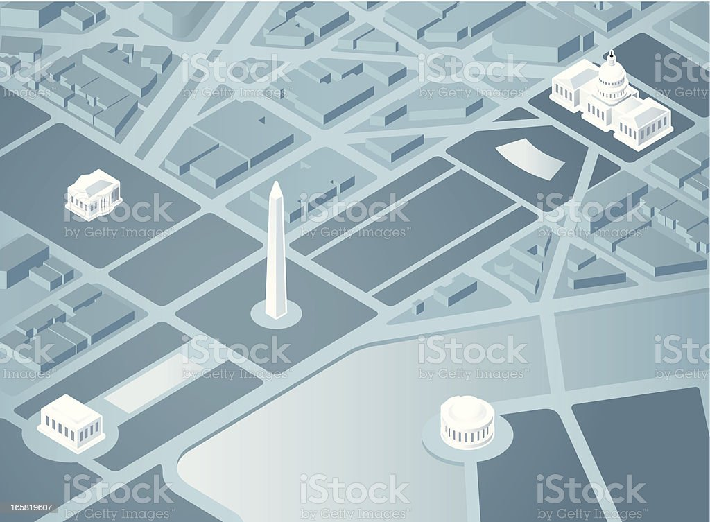 Isometric Washington DC vector art illustration