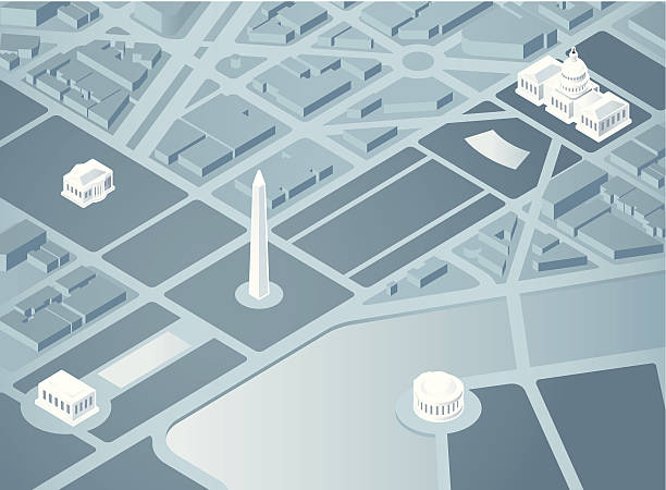 Isometric Washington DC An overhead 3D illustration of Washington DC. Landmarks are on a separate layer in Illustrator. white house stock illustrations