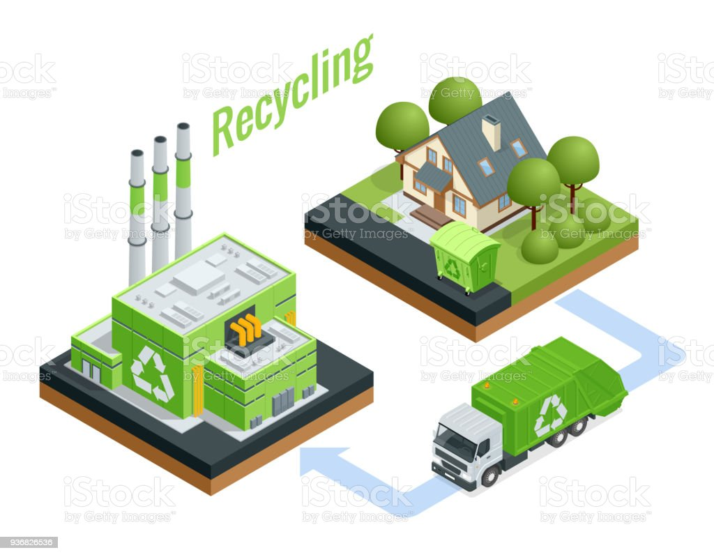 Isometric Waste Processing Plant. Technological process. Recycling and storage of waste for further disposal. royalty-free isometric waste processing plant technological process recycling and storage of waste for further disposal stock illustration - download image now