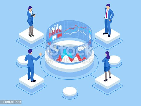Isometric web banner Data Analisis and Statistics concept. Vector illustration business analytics, Data visualization. Technology, Internet and network concept. Data and investments
