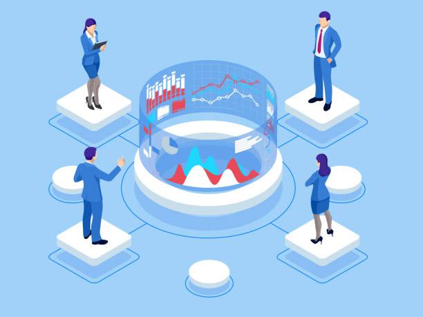 アイソメウェブバナーデータアナリシスと統計概念。ベクトルイラストビジネス分析、データビジュアライゼーション。技術、インターネット、ネットワークの概念。データと投資。 - 会社点のイラスト素材/クリップアート素材/マンガ素材/アイコン素材