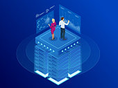 Isometric web banner Data analytics platform and Statistics. Vector illustration hosting server or data center room. Technology, Internet and network concept. Data and investments