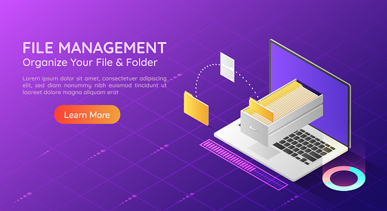 Isometric web banner laptop transfer file and organize folder in the monitor