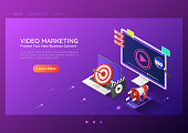 3d isometric web banner online video content marketing advertising on pc smartphone laptop. Video marketing landing page concept.
