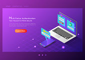 3d isometric web banner two steps verification system on laptop and smartphone. Duo authentication and internet security landing page concept.