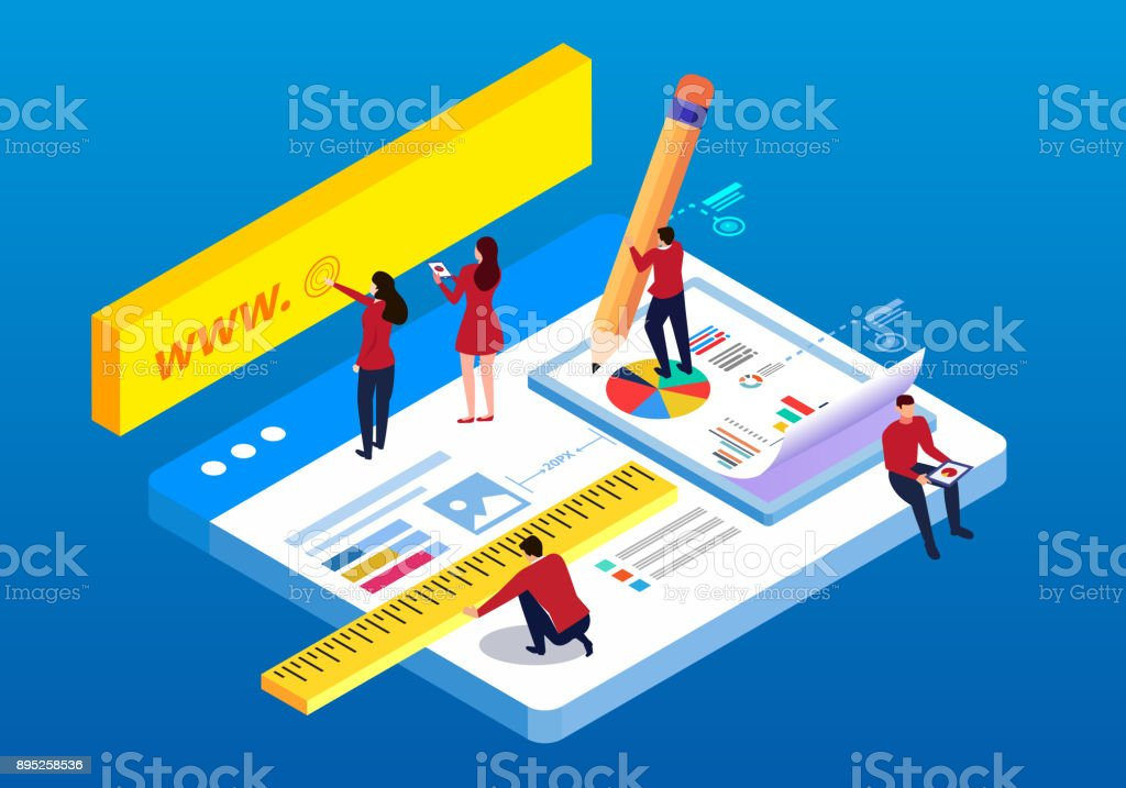 Isometric web construction and testing vector art illustration