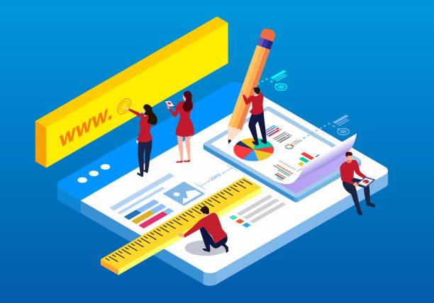 等距 web 結構和測試 - 商業策略 幅插畫檔、美工圖案、卡通及圖標