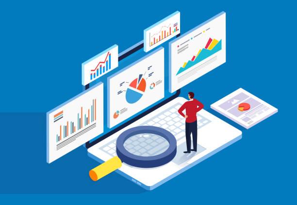 Isometric web page stock market financial data analysis vector art illustration