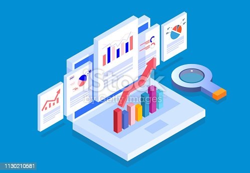 istock Isometric web pages and business data reports 1130210581