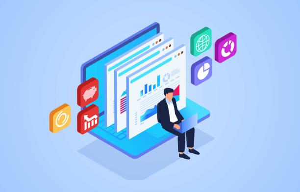 Isometric website promotion and web page data analysis, network marketing data management vector art illustration