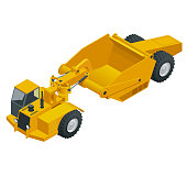 Isometric Wheel tractor-scraper. Wheel tractor-scraper, heavy equipment used for earthmoving. scraper a conveyor belt moves material from the cutting edge into the hopper.
