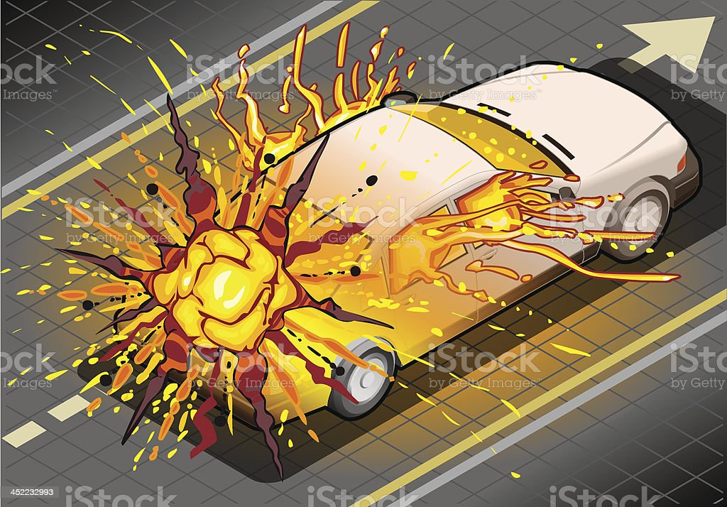 Isometric White Car Exploded in Rear View royalty-free isometric white car exploded in rear view stock vector art & more images of accidents and disasters
