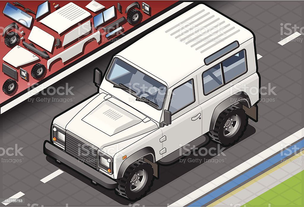 Isometric White Cross Country Vehicle Front View royalty-free isometric white cross country vehicle front view stock vector art & more images of 4x4