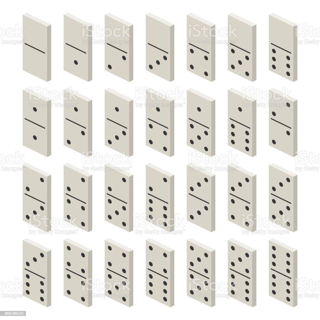 Isometrische Weiße Domino Komplettset Klassisches Spiel Domino ...