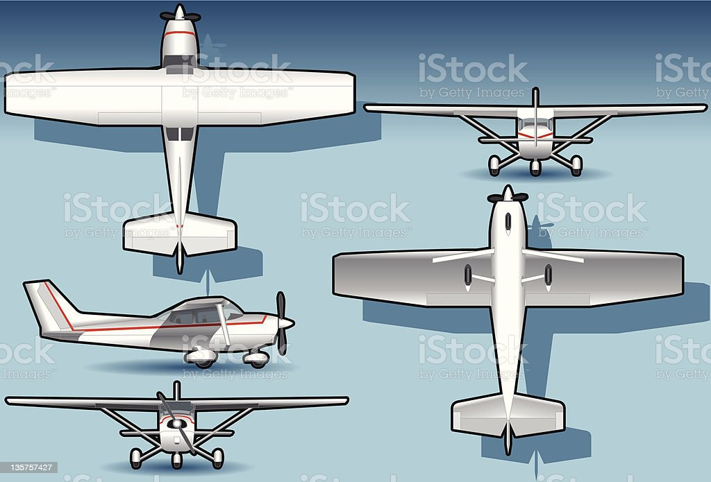 isometric white plane in five position royalty-free stock vector art
