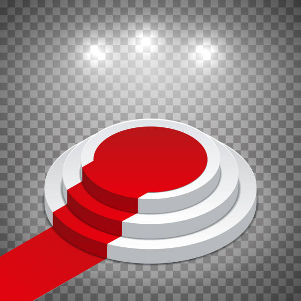 ilustrações, clipart, desenhos animados e ícones de pódio redondo branco isométrico com tapete vermelho e projectores. teste padrão em um fundo transparente. ilustração editable do vetor. - ícones de festas e estações