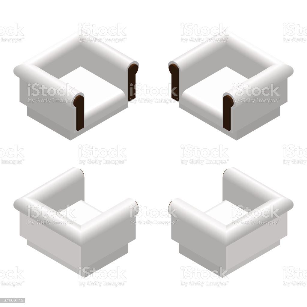 Fauteuil Design Mobilier De Éléments Blanc Isométrique Mou clJTFK1