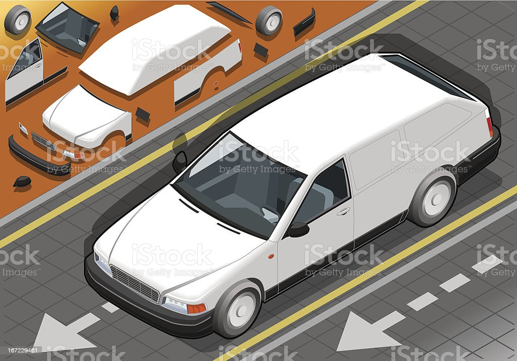 Isometric White Station Wagon Car in front view vector art illustration