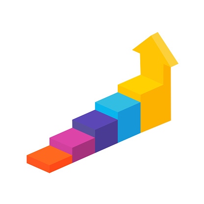Isometric white stepped vertical arrow going up. Career, personal development. Business success. Marketing concept strategy. Vector chart. Progress bar template. Development icon. EPS 10