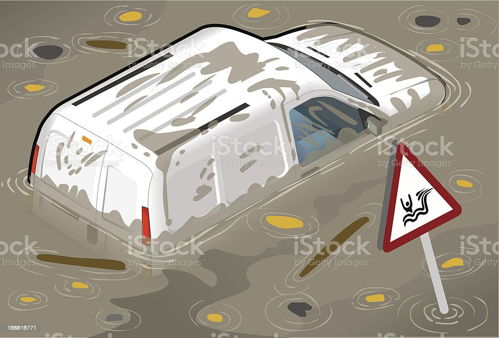 Isometric White Van Flooded in Rear View royalty-free isometric white van flooded in rear view stock vector art & more images of abandoned