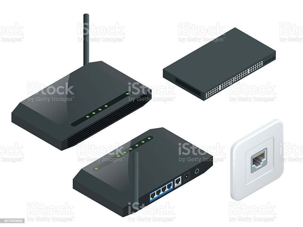 Isometric Wi-Fi wireless router vector art illustration