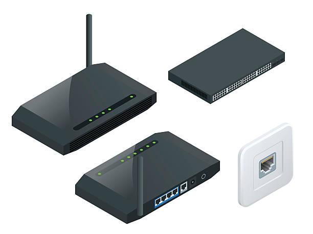 ilustraciones, imágenes clip art, dibujos animados e iconos de stock de isometric wi-fi wireless router - interruptor