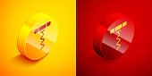 Isometric Wine corkscrew icon isolated on orange and red background. Circle button. Vector Illustration
