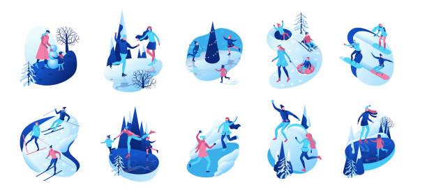 stockillustraties, clipart, cartoons en iconen met isometrische winter mensen, 3d vector illustratie set, sport familie schaatsen, skiën, snowboarden, sneeuwballen spelen, kid op slee, simple skater, tubing, buiten sneeuw games, stripfiguren - christmas family