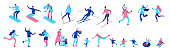 Isometric winter people set isolated, 3d vector sport family ice skating, skiing, snowboarding, playing snowballs, kid on sleigh, simple skater, ski, tubing, outdoor snow games, cartoon characters