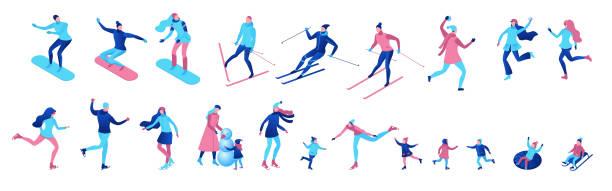 Isometrische Winter Menschen set isoliert, 3D Vektor Sport Familie Eislaufen, Skifahren, Snowboarden, Schneebälle spielen, Kind auf Schlitten, einfache Skater, Ski, Tubing, Outdoor-Schnee-Spiele, Zeichentrickfiguren – Vektorgrafik