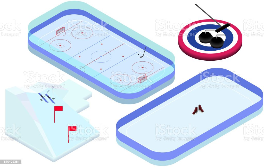 Isometric winter sports elements hockey, skating, ski, curling in...
