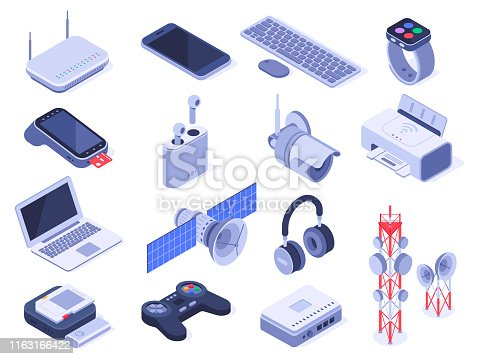 Isometric wireless devices. Computer connect gadgets, wireless connection remote controller and router device. Home internet technology wifi devices. Isolated 3d icons vector set