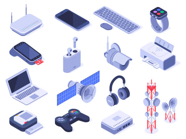 Isometric wireless devices. Computer connect gadgets, wireless connection remote controller and router device 3d vector set Isometric wireless devices. Computer connect gadgets, wireless connection remote controller and router device. Home internet technology wifi devices. Isolated 3d icons vector set gamepad stock illustrations