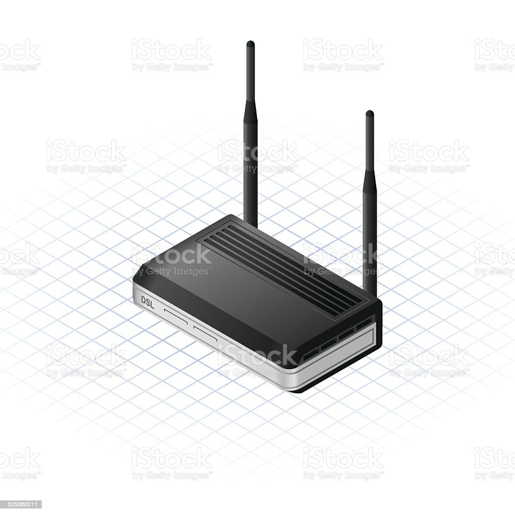 Isometric Wireless Modem Vector Illustration