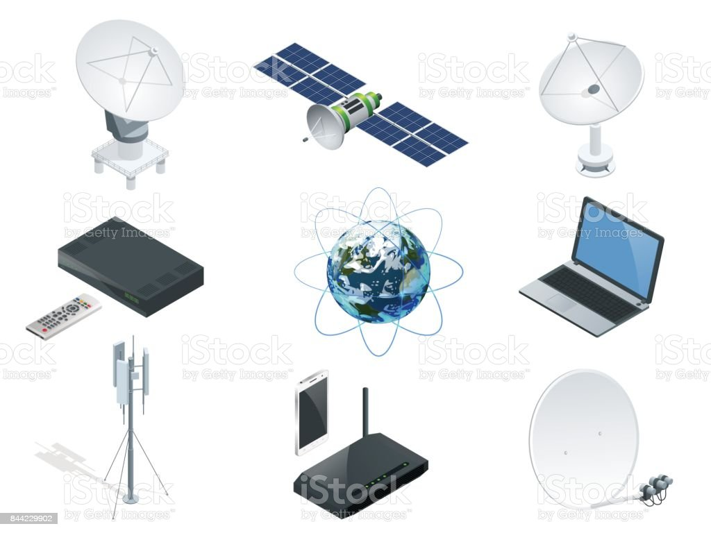 Isometric Wireless Technology and Global communication icons towers satellite antennas radio telescope router and Earth orbit space station GPS satellite isolated vector illustration World global net vector art illustration